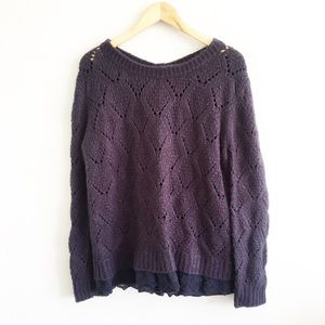 Lili Rose Navy Chunky Knit Button Back Sweater